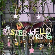 Colgante de madera con letras Hello Spring Easter, adorno DIY, etiqueta colgante, decoración de fiesta en casa de estilo nórdico