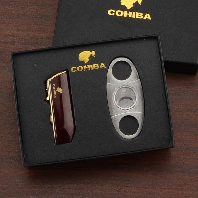 COHIBA Cigar Lighter 3 Jet Flame Gas Torch Butane Lighter Cutter Sharp Cigar Accessories Cigar Kit