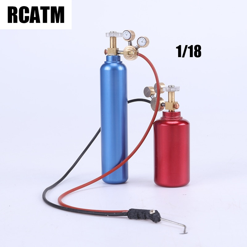 2pcs 1/18 Aluminum Alloy Oxygen Acetylene Bottle For 1/10 RC Crawler 1/14 Tamiya RC Truck TRX4 G500 TRX6 G63 Scania Axial SCX10 enlarge