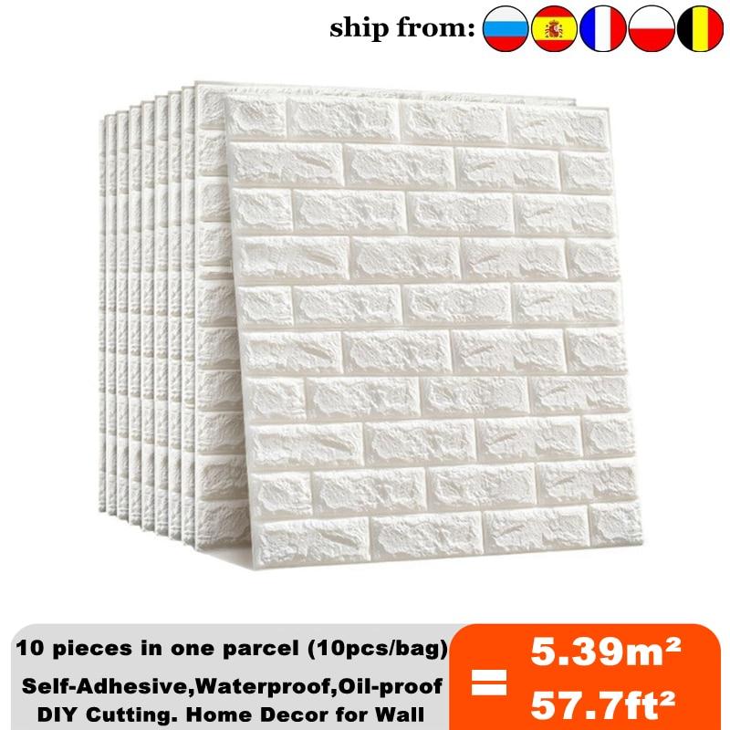 Pegatina de pared 3D de imitación de ladrillo para dormitorio, sala de autoadhesivo papel tapiz impermeable para estar, cocina, TV, fondo, 10 Uds.