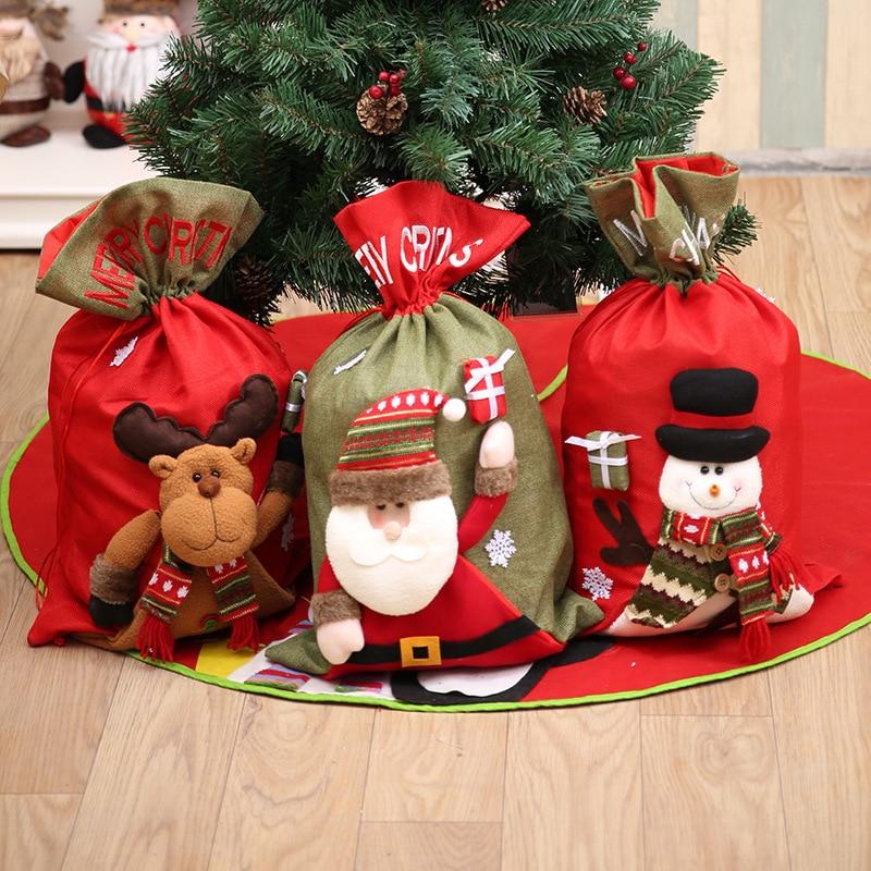 10 piezas de decoración de Navidad de lino grande para el hogar bolsa de regalo Navidad Santa Claus bolsa trasera adventskalender cadeau noel búfalo plaid