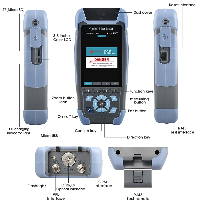 mini pro OTDR Reflectometer 9 functions in 1 device OPM OLS VFL Event Map RJ45 Ethernet Cable Sequence Distance Tracker enlarge