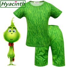 Grinch roupas de natal sleepwear t camisa + shorts roupas menino bebê meninos meninas pijamas define ropa camisas ação de graças roupas