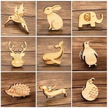SMJEL Style japonais oiseau lapin éléphant cerf baleine pingouin hérisson chien poule bois broche épinglette pour femmes enfants hommes noël
