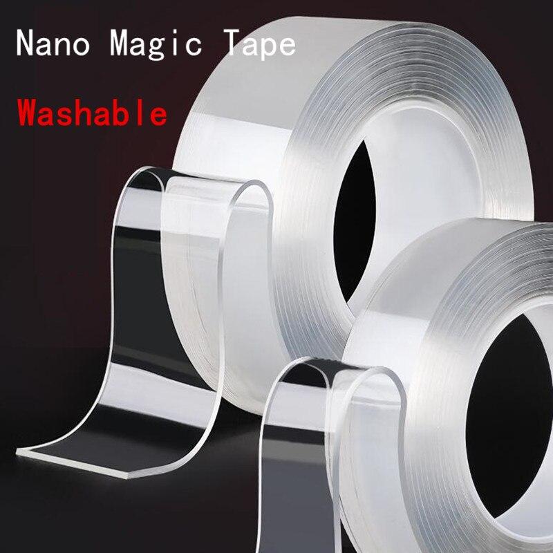 Ruban adhésif Nano magique Transparent réutilisable   Ruban adhésif Double face autocollant sans trace, ruban électrique en PU étanche pour la réparation à domicile