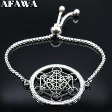 Yoga Hindu Buddhismus Blume des Lebens Kristall Edelstahl Kette Armband für Frauen Silber Farbe Halskette Schmuck cadenas mujer
