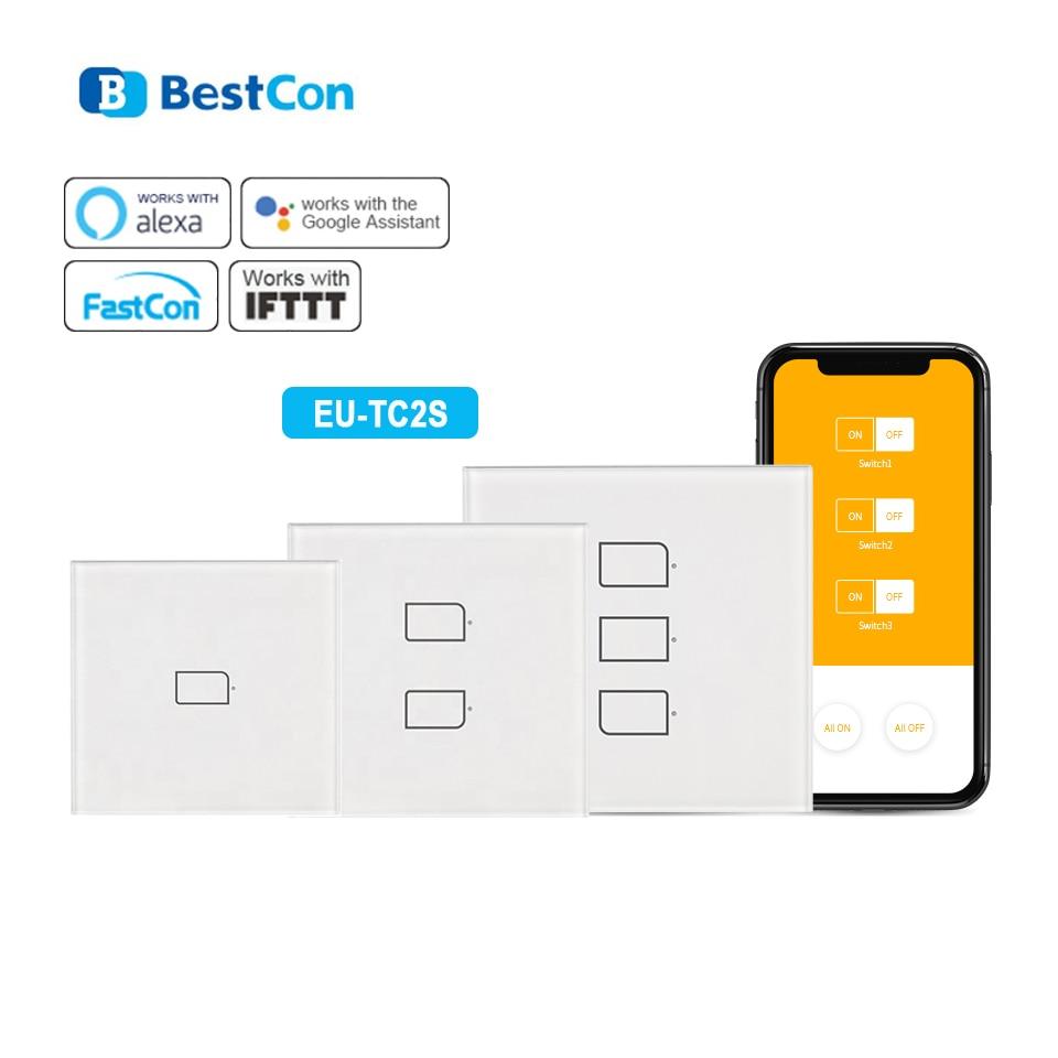 Broadlink TC2S EU interruptor WiFi Panel táctil EU estándar luz de pared Cambio de Aplicación Control por IOS Android Phone automatización inteligente del hogar