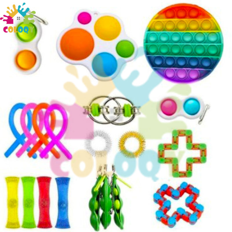 COLOQY 11 Fidget Toys Pop it Sensory Antistress Toy Pack Squishy Squish mallow Decompression Stress Reliever Toy For Adults Kids enlarge