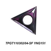 Fraise CNC, outil de tournage cylindrique, insertion en carbure, TPGT 110302-SF TPGT110302-SF TPGT110304-SF YNG151