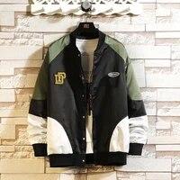 autumn new fat big size handsome loose hit color baseball uniform couple oversize jacket outerwear chaquetas hombre coat men