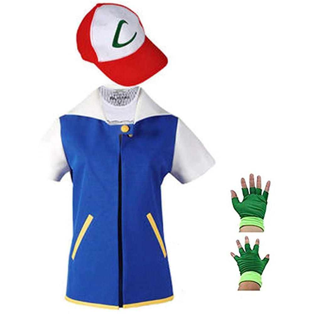 Pokemon Ash Ketchum Cosplay Women and Men Anime Blue Jacket Hat Gloves Sets Kids Adult Ketchum Party Pokemon Halloween Costume