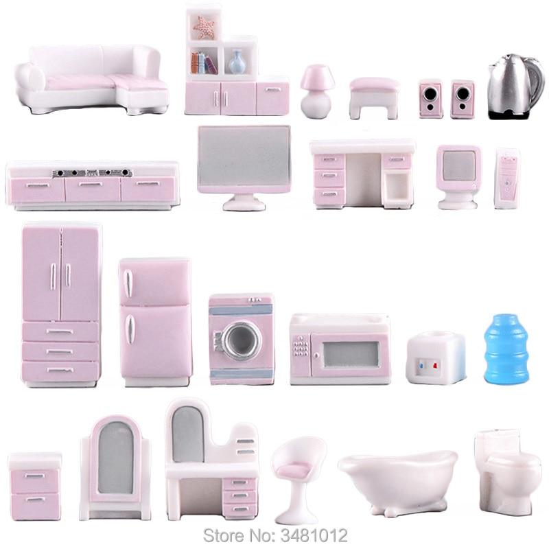 Miniature Dollhouse Furniture Set for Dolls House Mini Toy Kit Accessories TV Kitchen Home Fridge Kids Pretend Play Diy Figurine