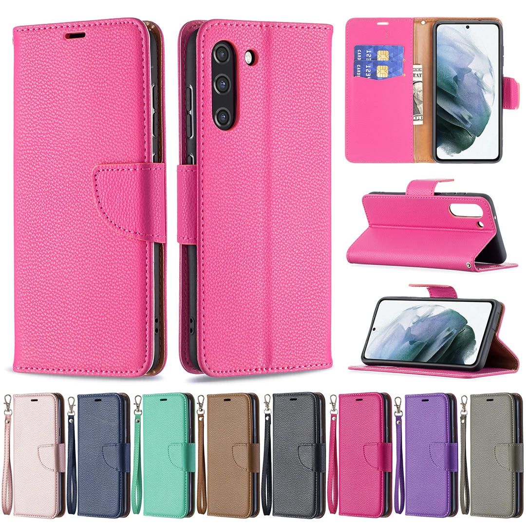 S21 FE Litchi Pattern Wallet Case for Samsung Galaxy A22 A82 5G S21 Lite Flip Leather Cover shockproof Lanyard Folded Stand Capa