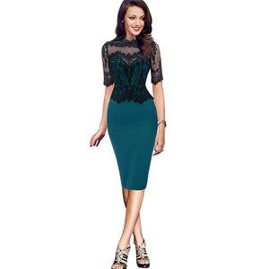 2021 Summer New Women Patchwork Lace Sexy Dresses Office Lady Half Sleeve Elegant Slim Fashion Plus Size Ladies Dress
