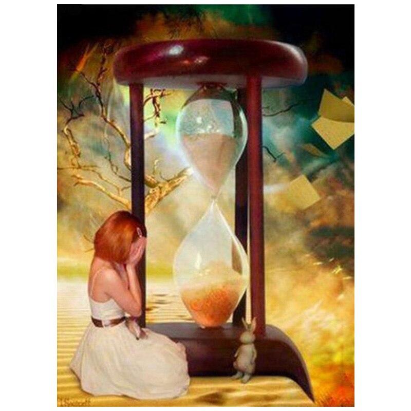 Cuadro completo redondo Diy 5d diamante pintura bordado diamante belleza reloj de arena mosaico diamantes de imitación decoración de boda