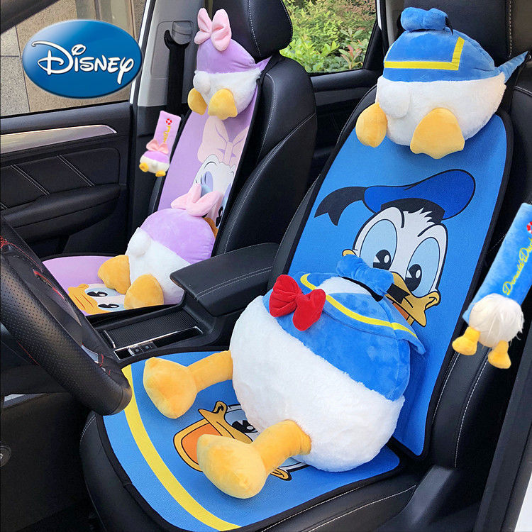 Disney Donald Duck Car Headrest Creative Breathable Linen Cushion Car Summer Cool Cushion Daisi Cartoon Cervical Pillow enlarge