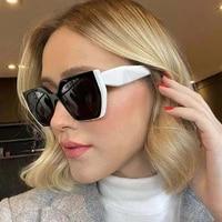 retro oversized polygon cat eye sunglasses for women fashion gradient shades eyewear uv400 men square double colors sun glasses
