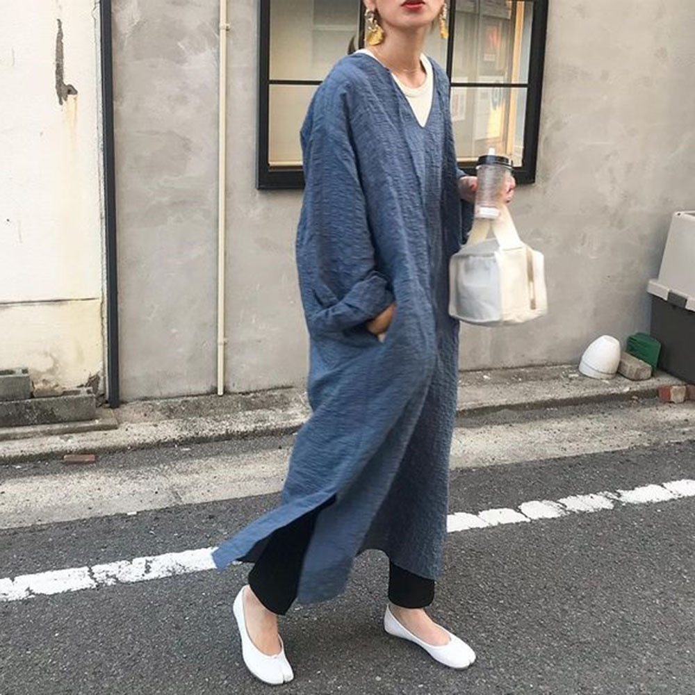 Japanese Style Autumn New 2021 Solid Color Split Fork Dress Temperament Simplicity Casual Loose V-ne