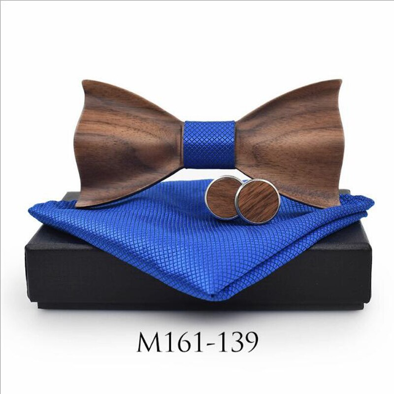 JIN&JU 2019 The Newest 3D Wooden Bow Tie Handkerchief Round Cufflinks set Fashion Wood Bow Tie Wedding gift Handmade Bow Ties