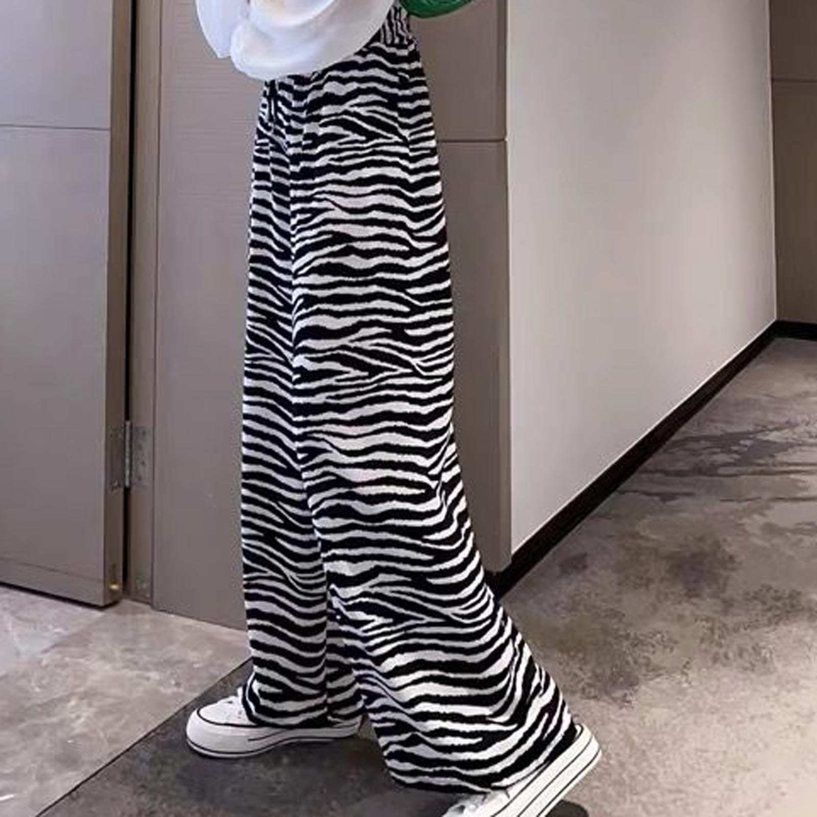 Women Zebra Pattern Wide-leg Pants Pantsfashion Striped Loose High Waist Pants Ladies Adjustable Long Trousers Женские Штаны D31