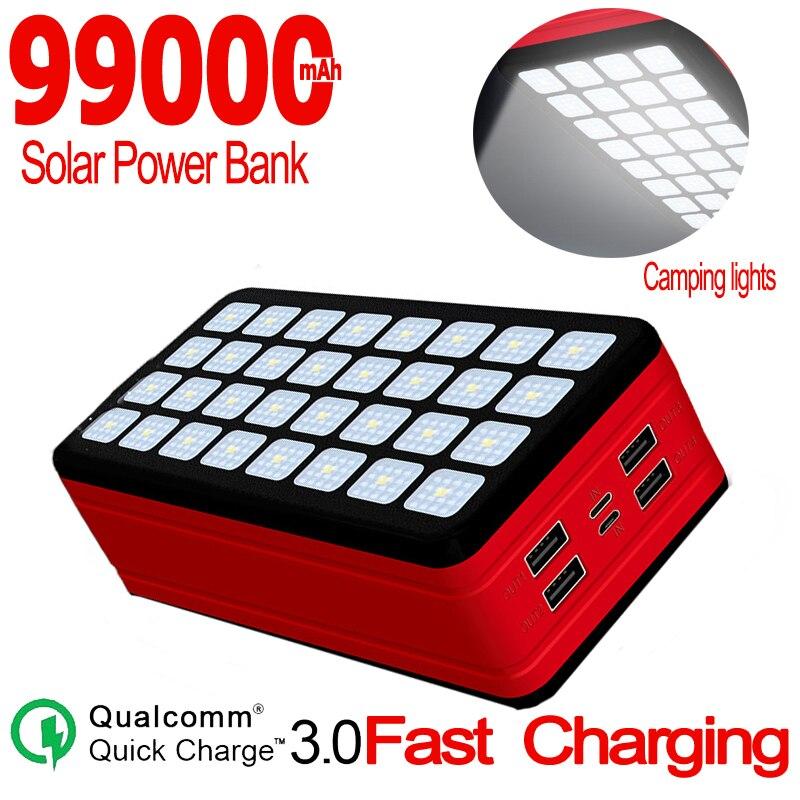 بنك الطاقة الشمسية 99000mAh سعة كبيرة المحمولة شاحن الهاتف المحمول LED ضوء 4USB ميناء PoverBank ل شاومي سامسونج آيفون