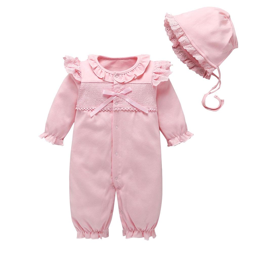 Ropa de bebé recién nacido Ropa de encaje de flores monos y sombreros conjuntos de ropa de princesa niñas Footies para 2019 otoño bebé trajes de cuerpo 30