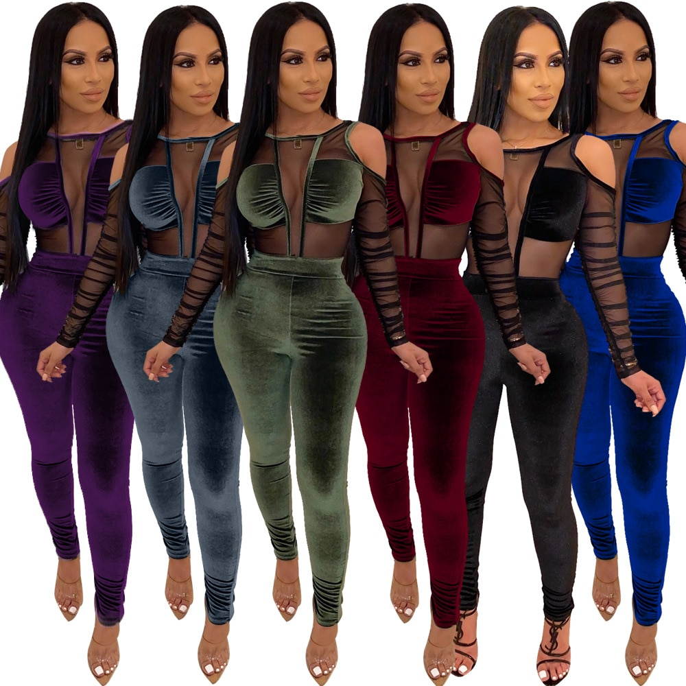 Velvet & Pleated Mesh Patchwork Solid Color Long Sleeves Backless Sexy Hole Women Jumpsuit New Arrival Autumn Hot Style Rompers