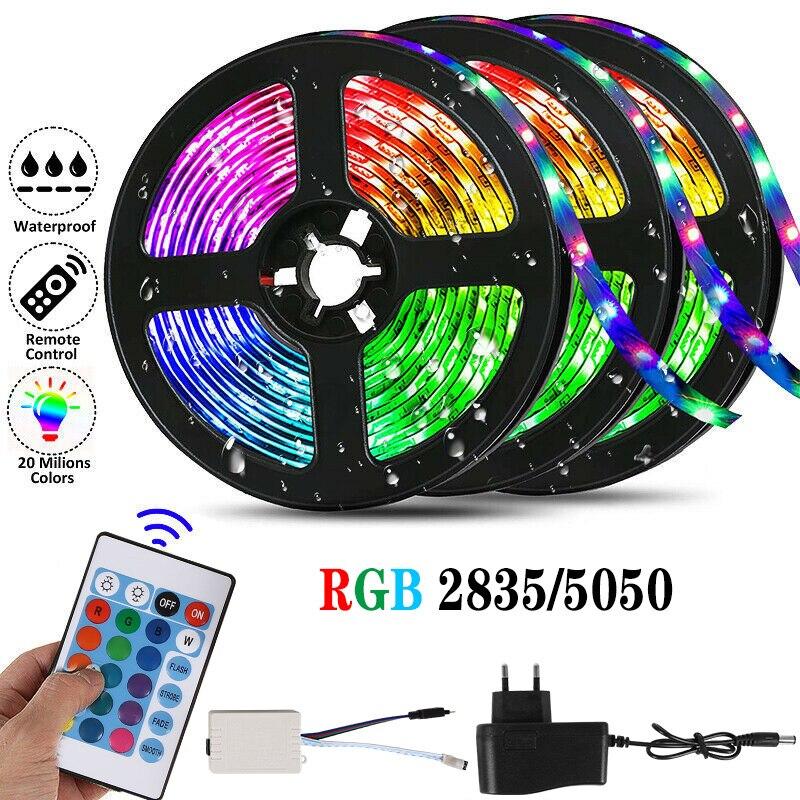 A luz de tira conduzida 12v smd 5050 rgb conduziu luzes para o diodo de fita flexível da iluminação do luminoso da tevê da decoração do quarto com controle