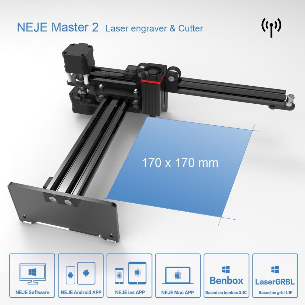 NEJE Master2 7W במהירות גבוהה מיני CNC לייזר חרט עם אלחוטי APP Benbox - GRBL1.1f - LaserGRBL- MEMS הגנה