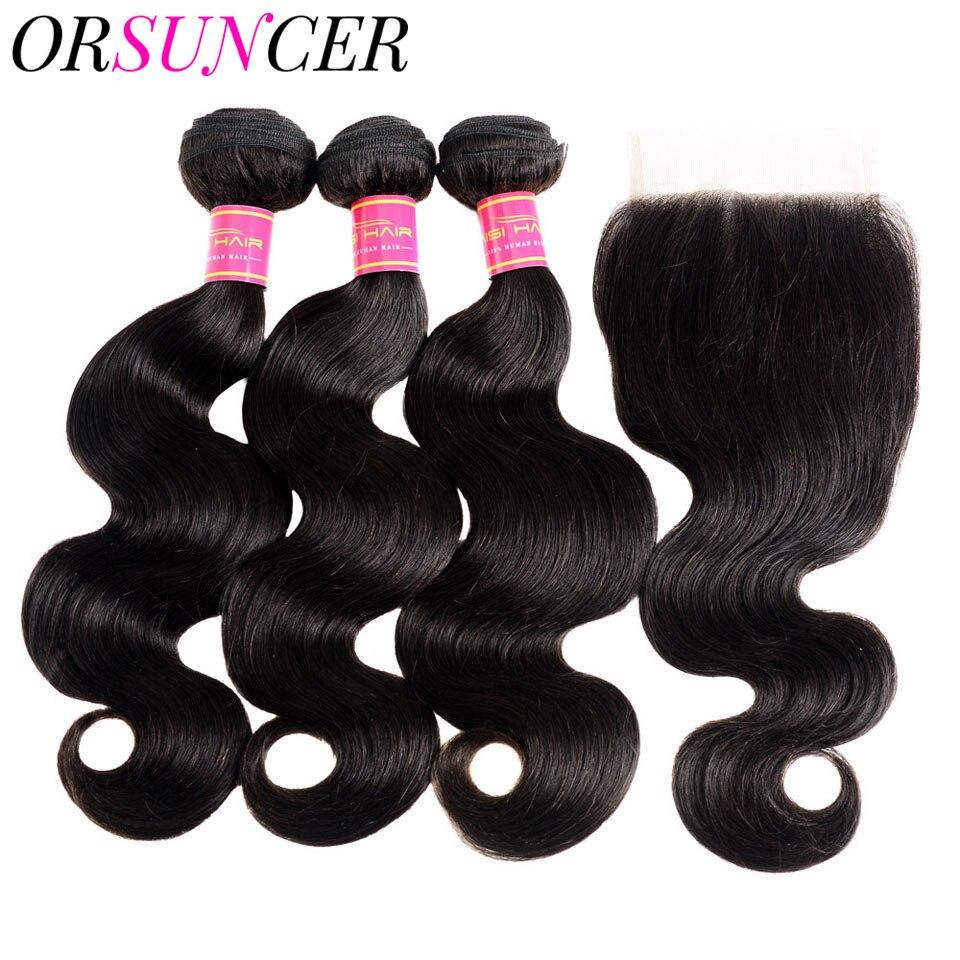 ORSUNCER Body Wave Transparent Lace Closure with Bundles Body Wave Long Brazilian Bundles With 4*4 Closure Hair Weave Bundles