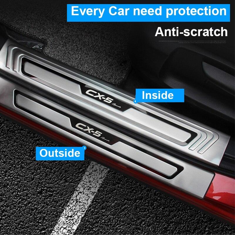 Para Mazda cx-5 CX5 2017 2018 2019 embellecedor de alféizar de puerta placa del desgaste protector de pedal de cortesía de la cubierta de acero inoxidable entrada guardia
