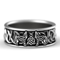norse giant wolf pattern classic men rings stainless steel weave amulet christmas gift for men jewelry free shipping