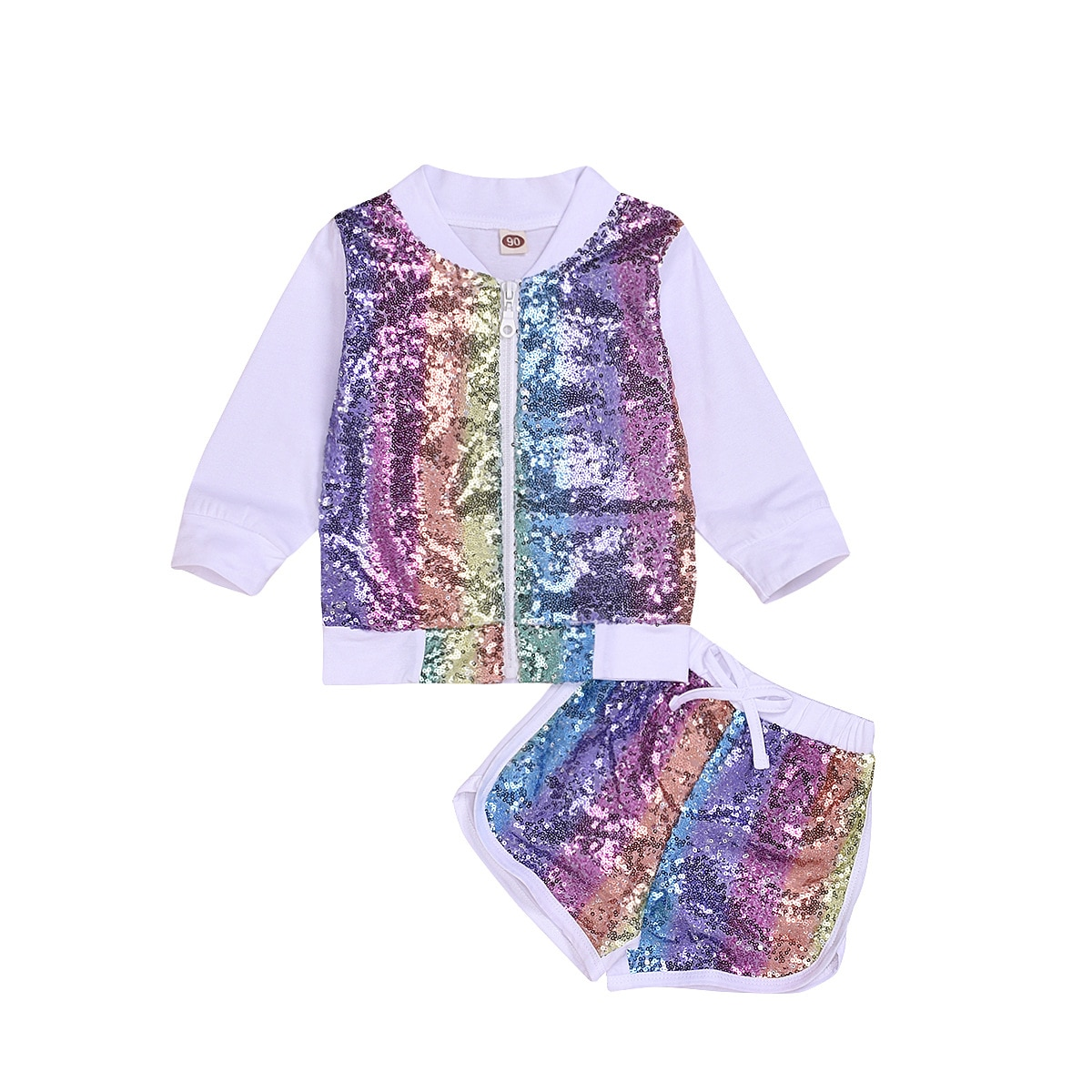 Chifuna nova moda arco-íris carta esporte define t-camisa + shorts do bebê boutique criança roupas de verão meninas para o menino