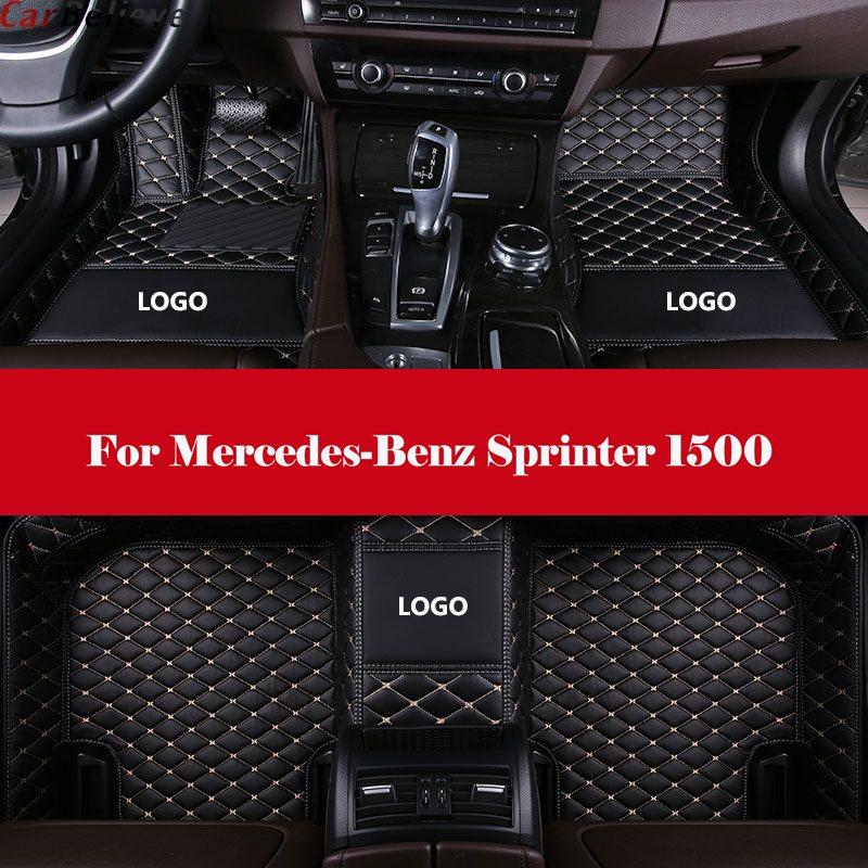 3D Leather Car Floor Mats Automobile Interior Accessories Waterproof PU Floor Mat with Logo For Mercedes-Benz Sprinter 1500