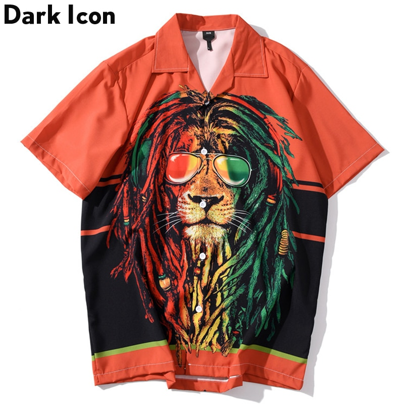 Мужская Уличная рубашка в стиле хип-хоп с принтом «Король льва» DARK ICON, летняя гавайская рубашка для мужчин 2020