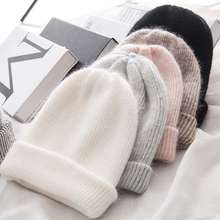 Gorro para chicas de piel de conejo cálido para mujer gorro de invierno de lana