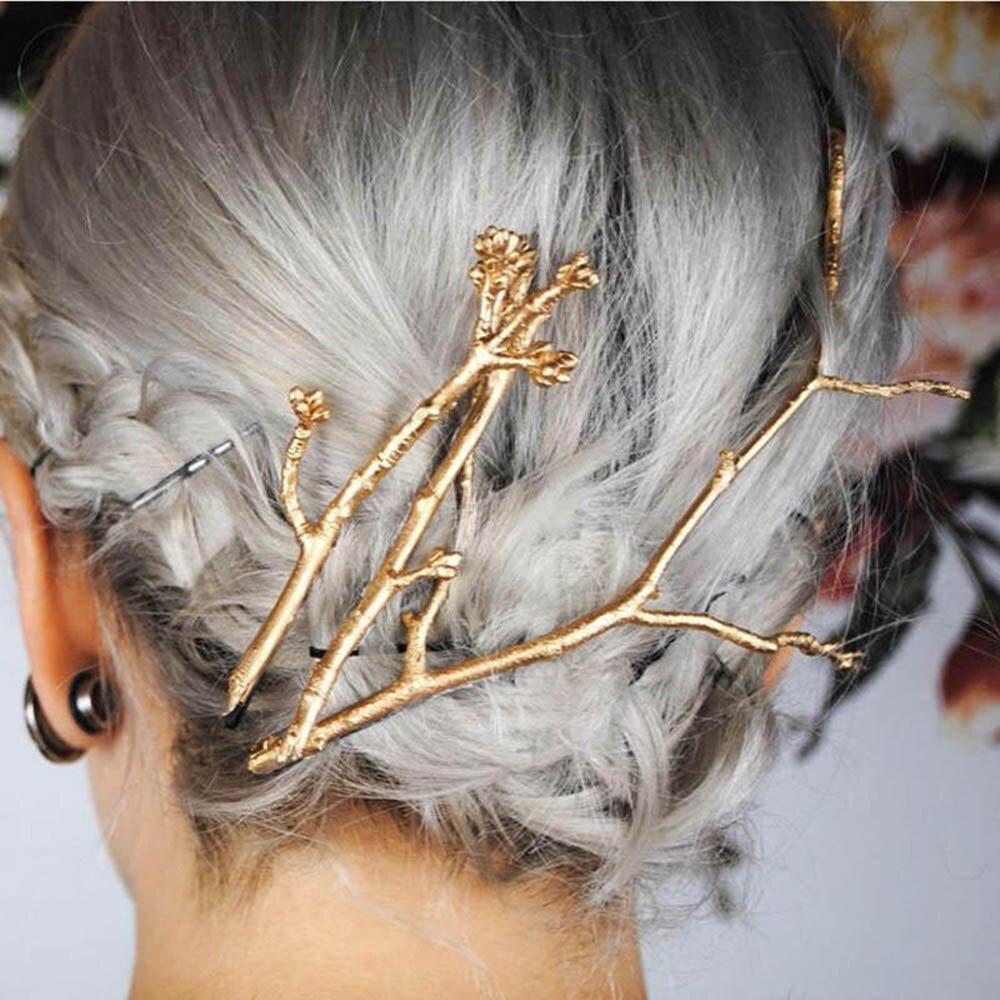 Pinzas para el cabello para niñas con ramas de árbol dorado hueco, pasador Retro, horquillas para el pelo, Accesorios para peinados de moda Vintage