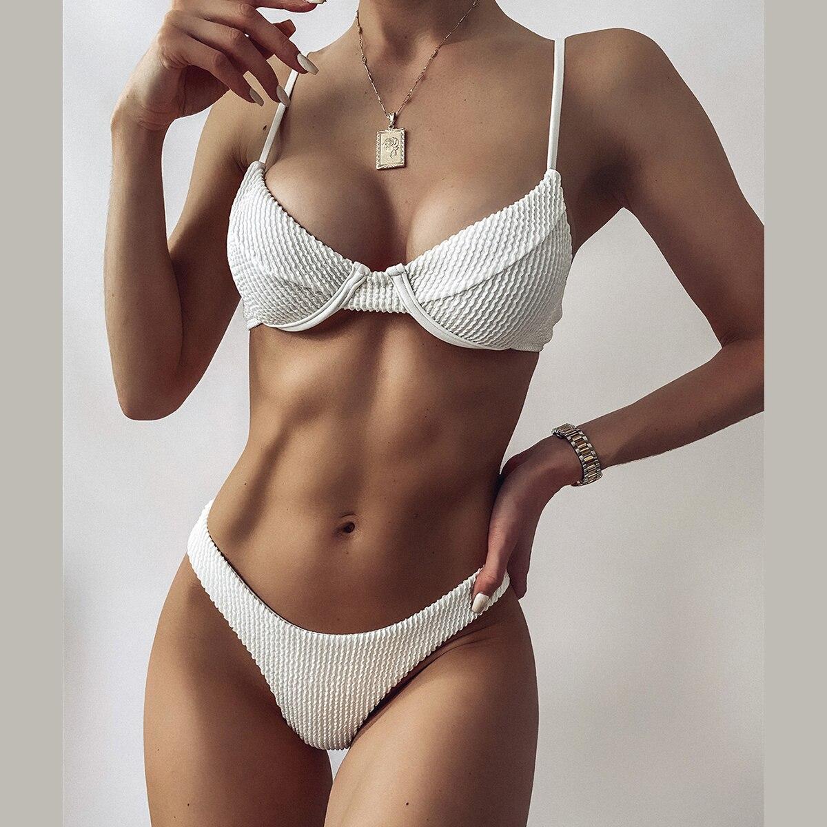 Bikini 2021New Solid Swimsuit Women Swimwear Push Up Bikini Set Patchwork Biquini Brazilian Summer Beach Bathing Suit Swim Wear 2021 sexy women high waist bikini swimsuit swimwear female bandeau thong brazilian biquini bikini set bathing beach suit bather