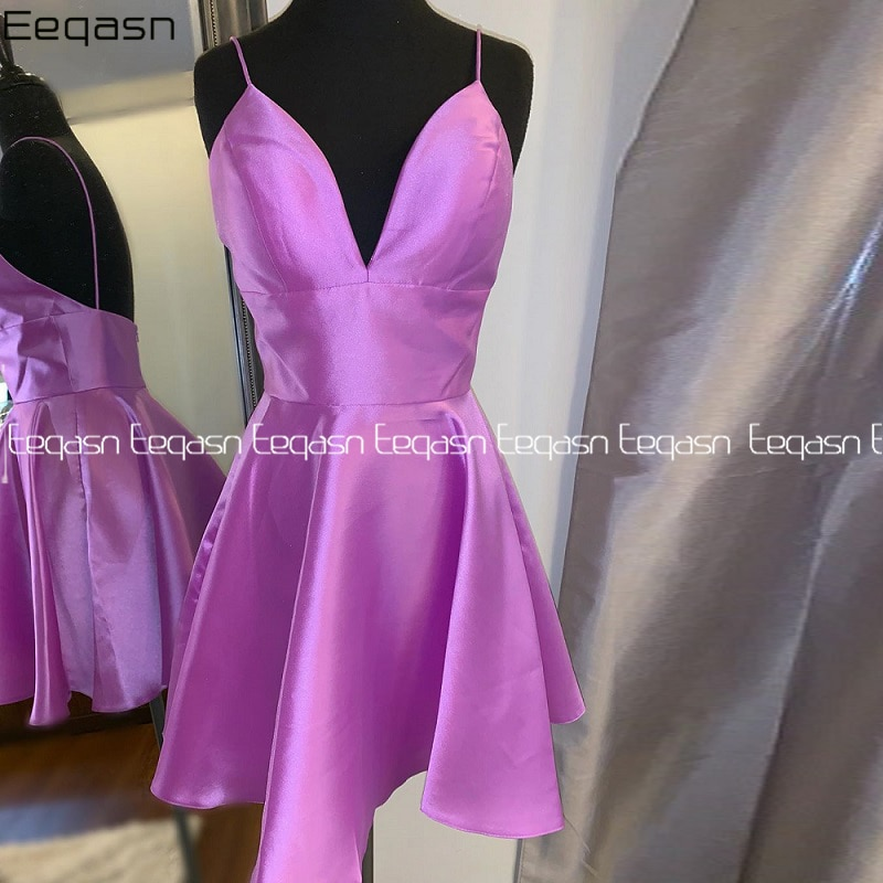 فستان كوكتيل ليلكي نسائي ، فستان كوكتيل أنيق ، خط A ، ياقة على شكل V ، ملابس حفلات التخرج ، مجموعة صيف 2020