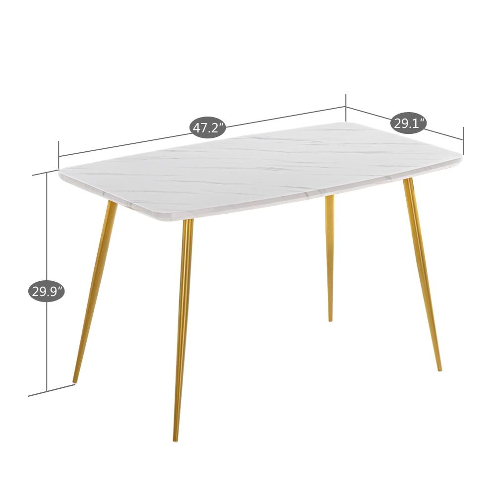 طاولة طعام من الرخام الأبيض ، 120x74x76 سنتيمتر