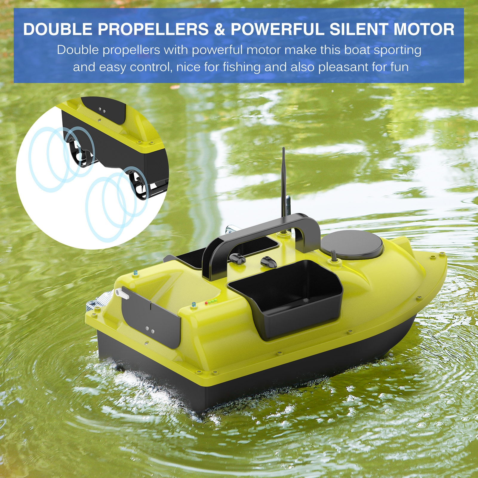 Wireless Control Fishing Bait Boat with 2/3 Bait Containers Smart Fish Feeder Device 540 yards Remote Range Double Motors Boat enlarge