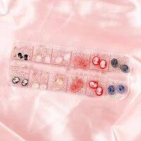 1box nail art beautiful lady design 3d charms with white mini beads gold rhinestones multicolors nail art jewelry manicure