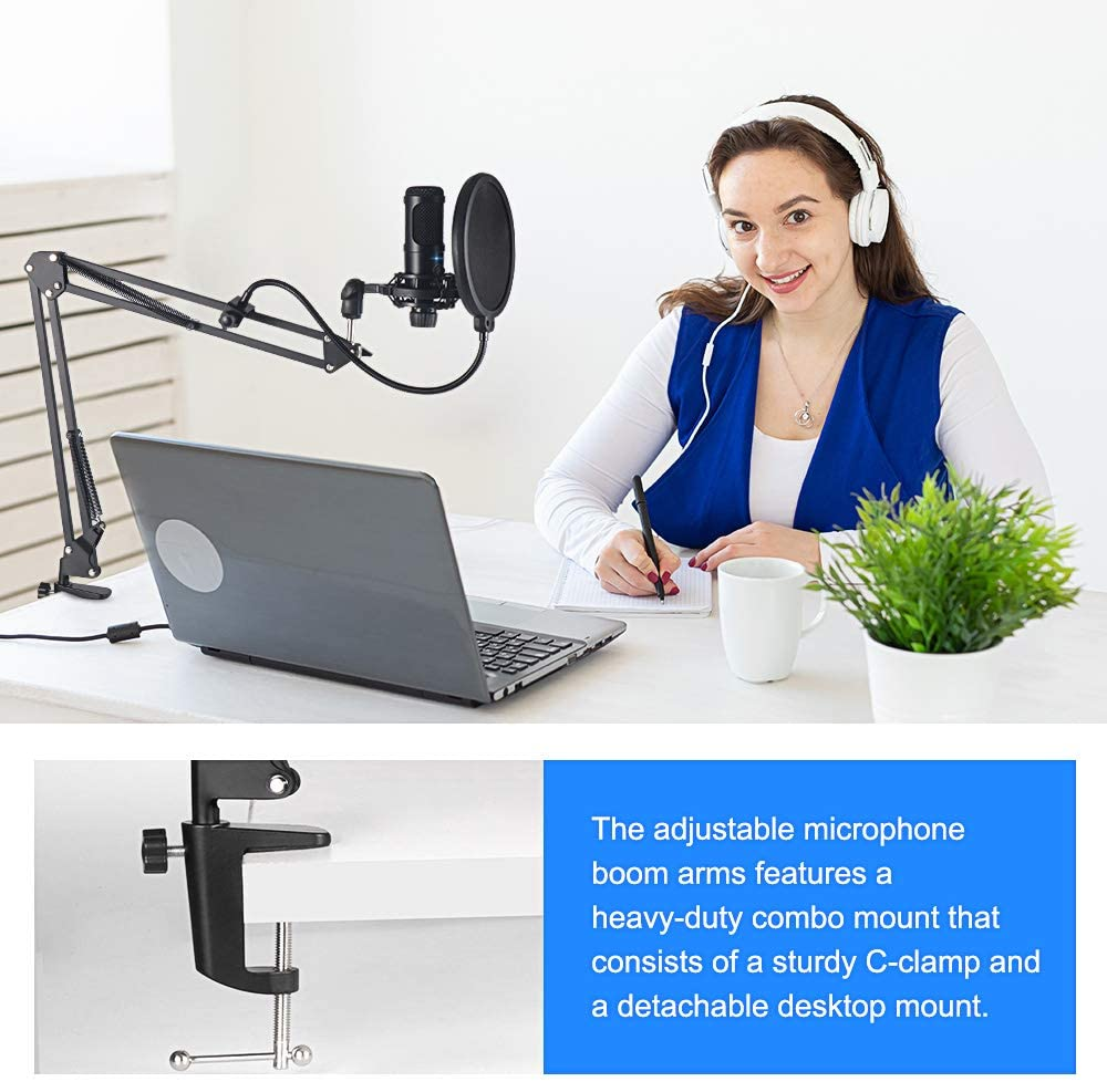 USB Computer Condenser Microphone Kit With Adjustable Scissor Arm Stand for PC YouTube Video Gaming Streams Studio enlarge