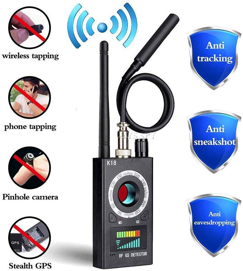 RF Signal Hidden Camera Detector Anti Spy Candid Pinhole Camara Magnetic GPS Locator Wireless Audio GSM Bug Finder K18 Scanner