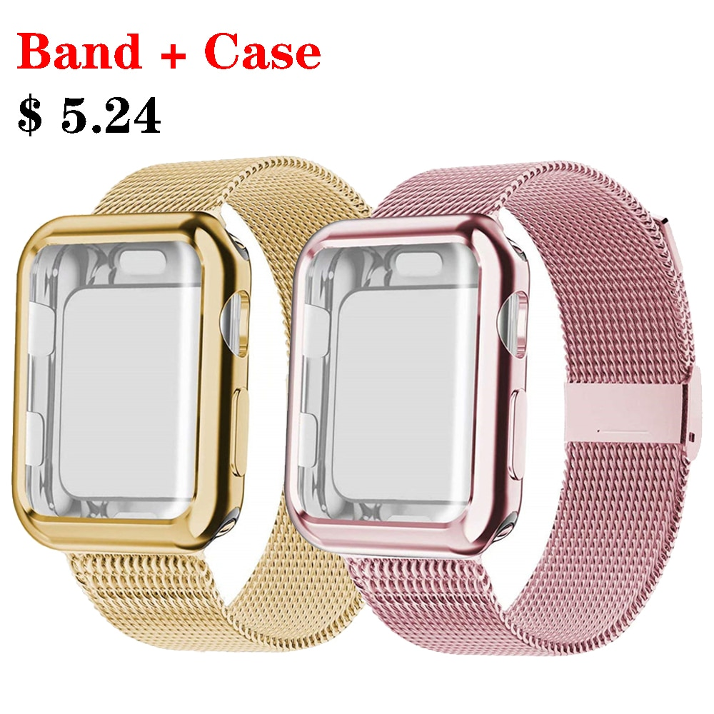 + Correa para apple watch banda Mlianese bucle apple watch 4 3 banda 44mm 40mm iwatch banda 42mm 38 pulsera de malla de mm