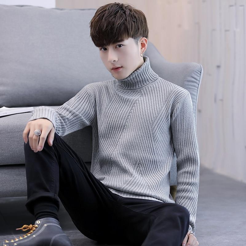 Sweater Man 2020 Autumn/winter Knit jumper Pullover man turtleneck sweater wave pattern open knit jumper