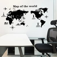 modern home decor world map wall sticker vinyl interior design bedroom living room map of the world wall decal removable