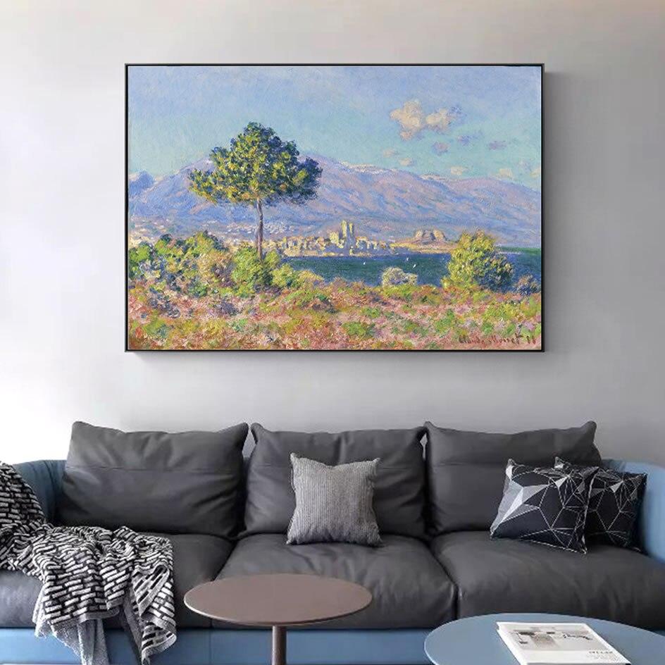 Claude monet antibes vue du plateau notre-dame famosas pinturas em tela impressionista paisagem arte da parede quadros em tela decoração