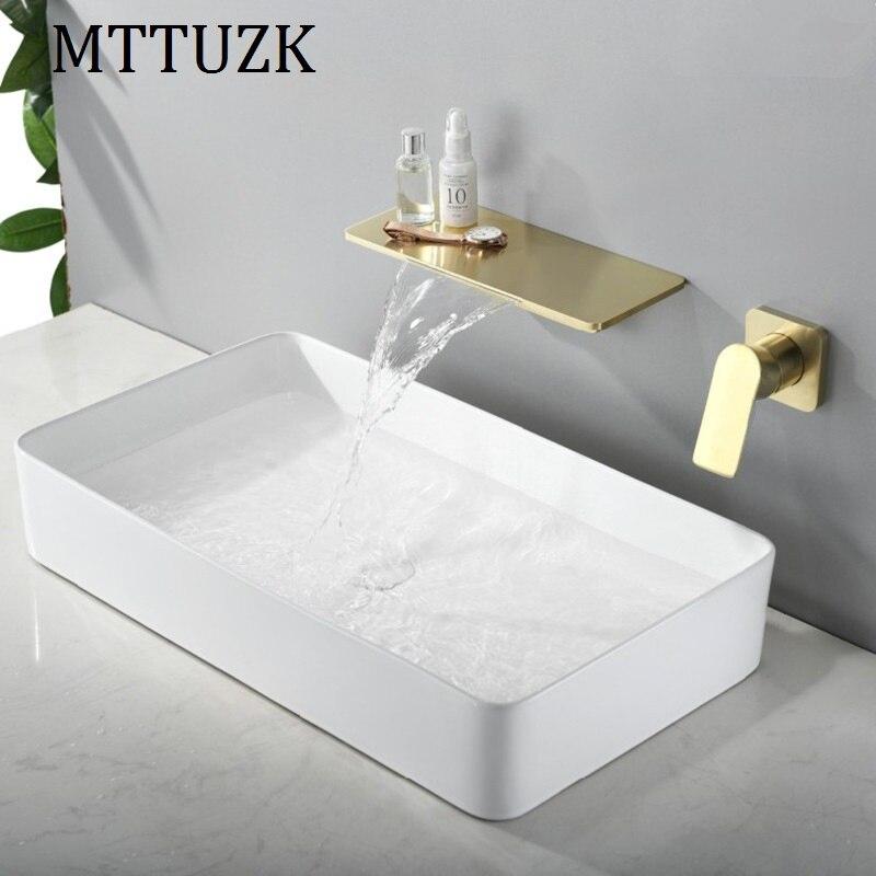 MTTUZK الحائط شلال صنبور مع الرف الأسود حوض صنبور النحاس الساخنة والباردة المياه نحى الذهب غسل حوض خلاط صنبور
