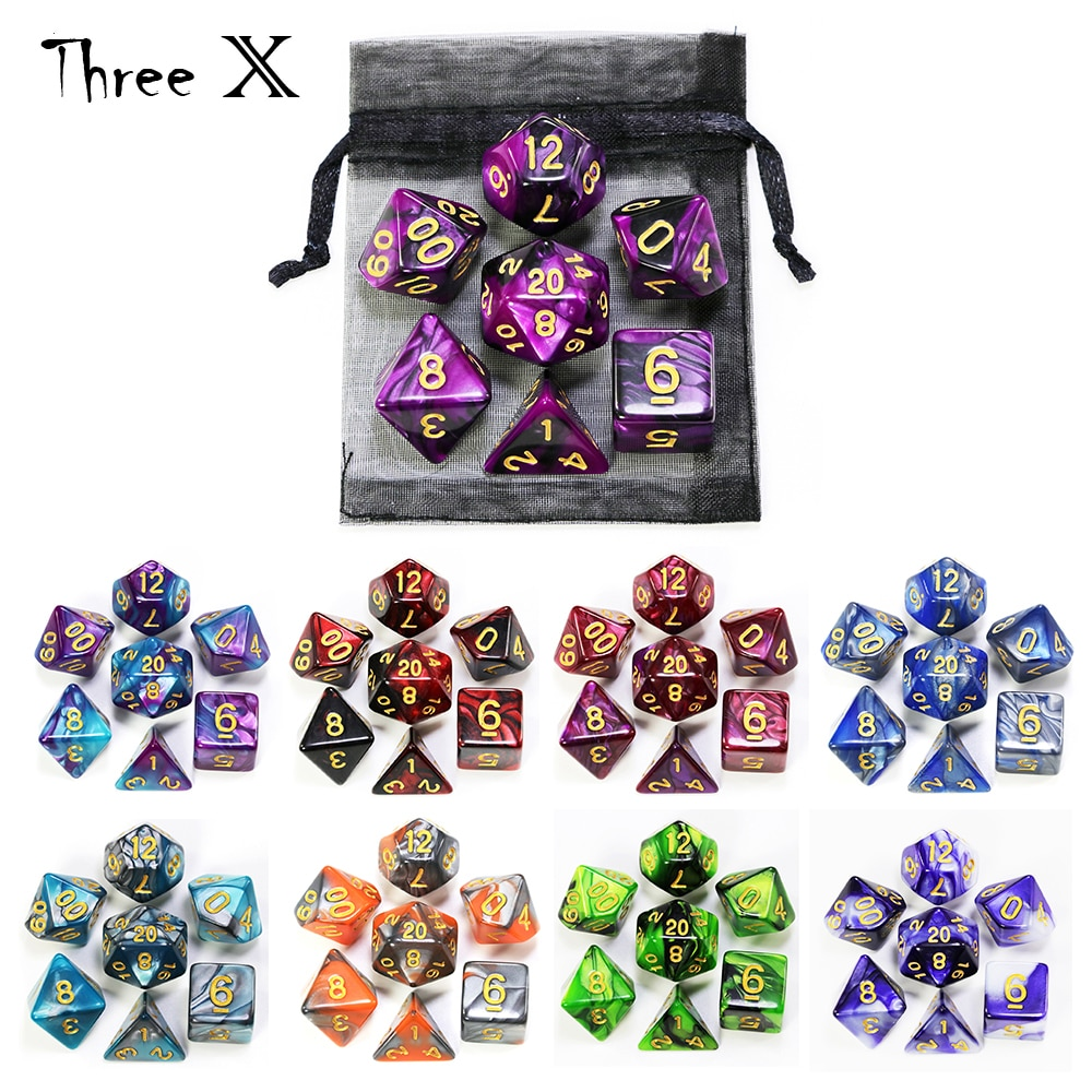 Polyhedral Dice Set with Pouch Double-Colors  Gold Numbers of D4 D6 D8 D10 D% D12 D20 for DND RPG Table Games